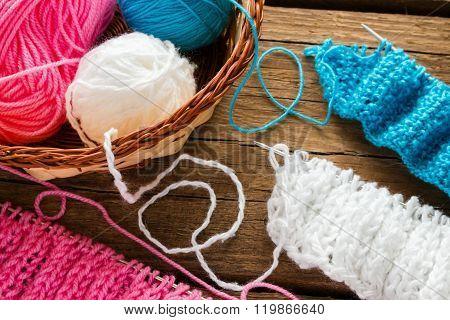 Basket With Balls Of Yarn Closeup
