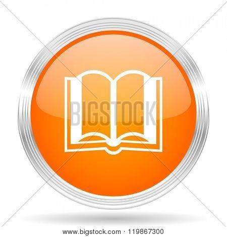 book orange silver metallic chrome web circle glossy icon