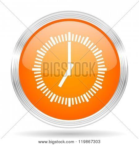time orange silver metallic chrome web circle glossy icon