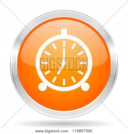 alarm orange silver metallic chrome web circle glossy icon
