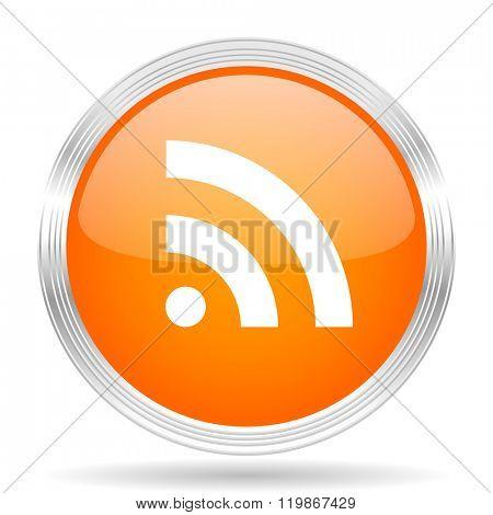 rss orange silver metallic chrome web circle glossy icon