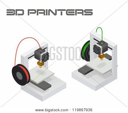Modern 3D printers in twin isometric projection