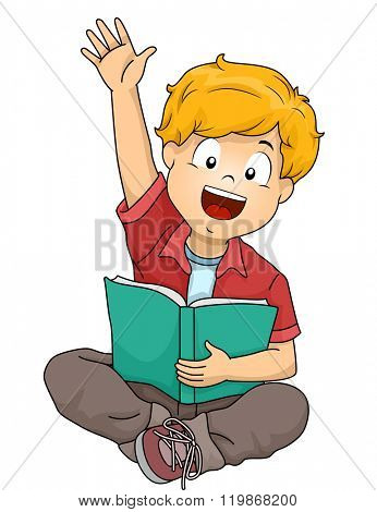 Illustration of a Boy Raising His Hands while Handling a Book