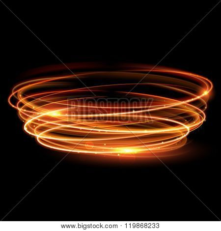 Vector gold circle light tracing effect. Glowing magic fire ring trace. Glitter sparkle swirl trail effect on black background. Bokeh glitter round ellipse line with flying sparkling flash lights.