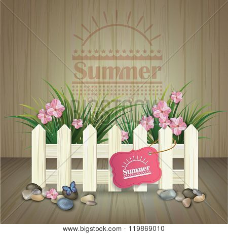 summer poster. summer background with  white  fence and flowers on  wooden texture