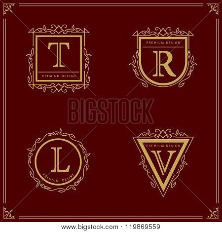 Monogram Monogram design elements, graceful template. Elegant line art logo design Letter T, R, L, V