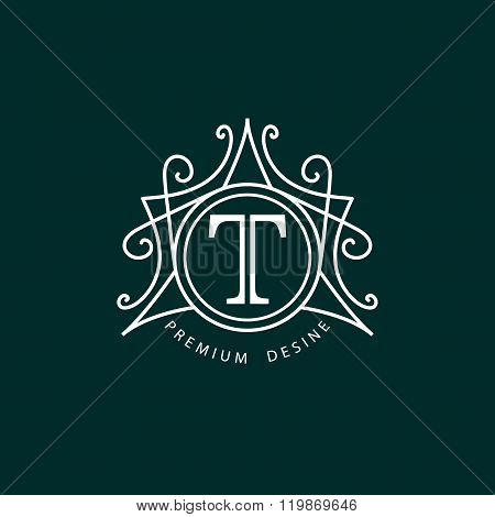 Monogram design elements, graceful template. Calligraphic elegant line art logo design. Letter T