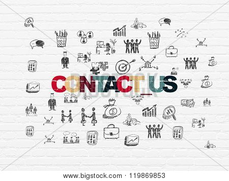 Business concept: Contact us on wall background