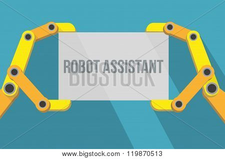 Robot hands holding blank sign with space for text.