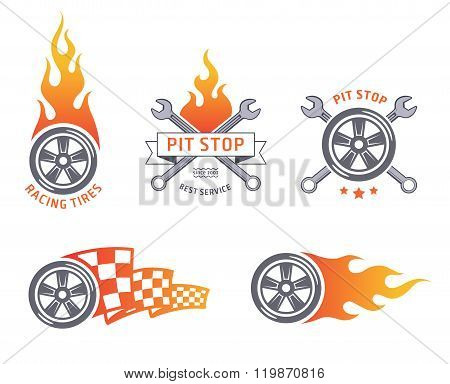 Colored racing tires and service vector emblems