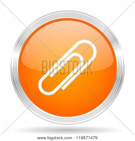 paperclip orange silver metallic chrome web circle glossy icon