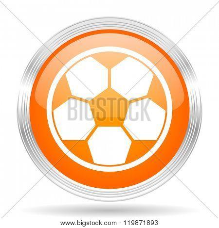 soccer orange silver metallic chrome web circle glossy icon
