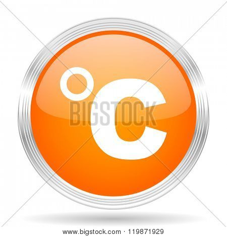 celsius orange silver metallic chrome web circle glossy icon