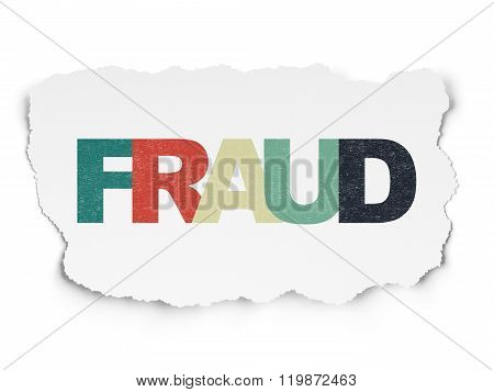 Safety concept: Fraud on Torn Paper background