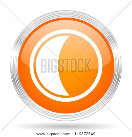 moon orange silver metallic chrome web circle glossy icon