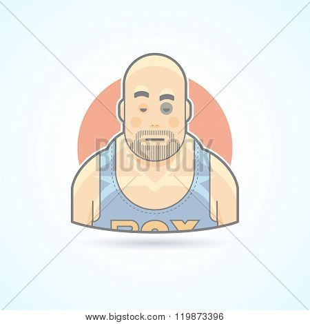 Boxer, sport fighter, man with a bruise on face icon. Avatar and person illustration. Flat colored o