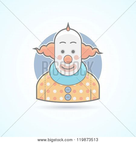 Circus clown, joker, funnyman icon. Avatar and person illustration. Flat colored outlined style.