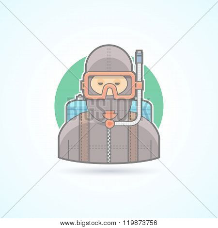 Diver, scuba diving man with aqualung icon. Avatar and person illustration. Flat colored outlined st