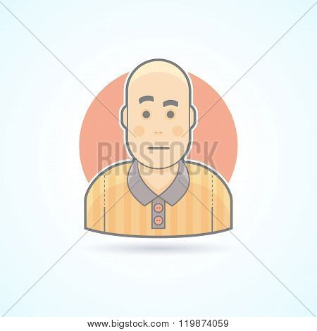 Soccer game judge, football referee icon. Avatar and person illustration. Flat colored outlined styl