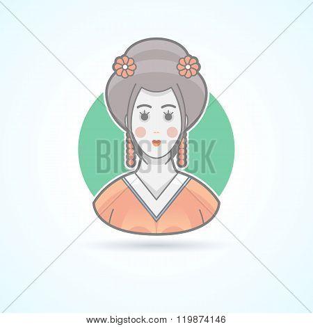 Geisha, japanese traditional woman dress, kimono girl icon. Avatar and person illustration. Flat col