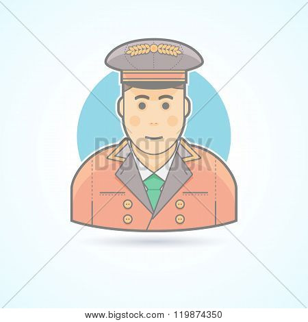 Hotel porter man, doorman service guy icon. Avatar and person illustration. Flat colored outlined st