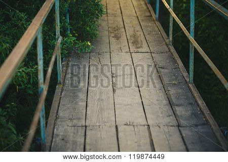 Old Bridge Made Of Wooden Planks