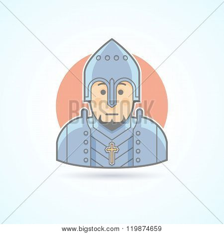 Knight in armor, middle age warrior icon. Avatar and person illustration. Flat colored outlined styl