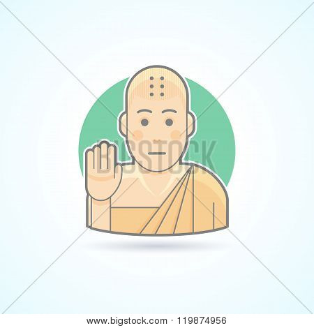 Buddhism monk, Tibetan novice  icon. Avatar and person illustration. Flat colored outlined style.
