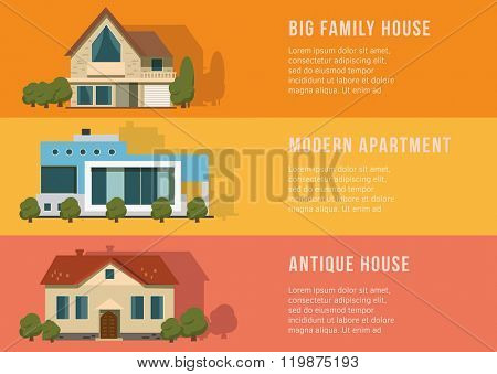 Real estate and home banners on the color background. Flat Design.