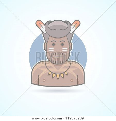 Traditional african man, papuan, wildman icon. Avatar and person illustration. Flat colored outlined