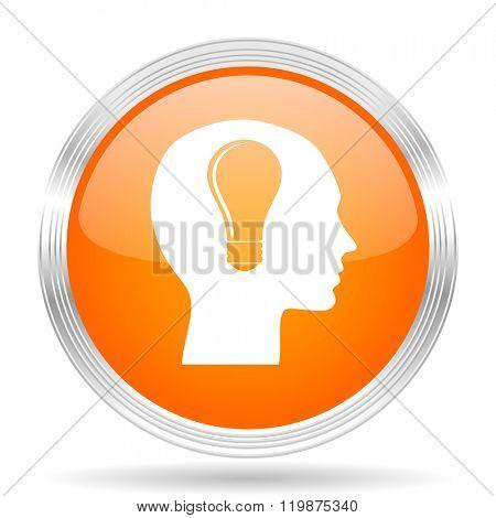 head orange silver metallic chrome web circle glossy icon
