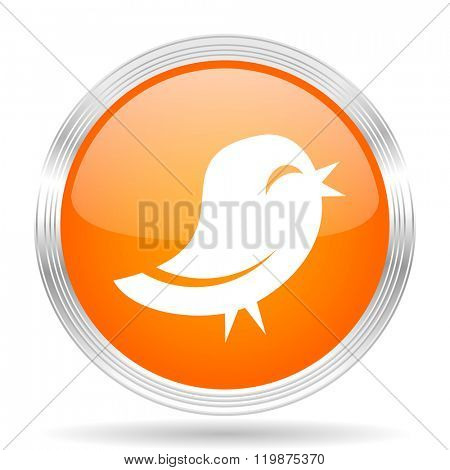 twitter orange silver metallic chrome web circle glossy icon