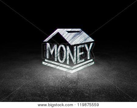Banking concept: Money Box in grunge dark room