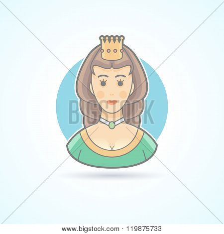 Queen, princess,  royal penson icon. Avatar and person illustration. Flat colored outlined style.