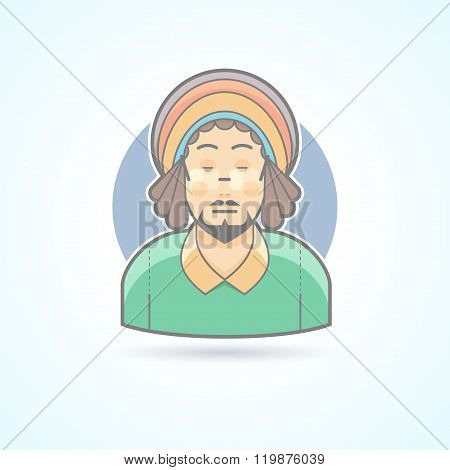 Rastafarian man, hippie, guy with dreadlocks icon. Avatar and person illustration. Flat colored outl
