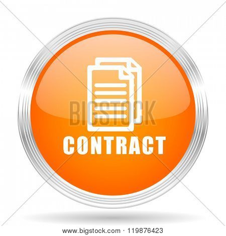 contract orange silver metallic chrome web circle glossy icon
