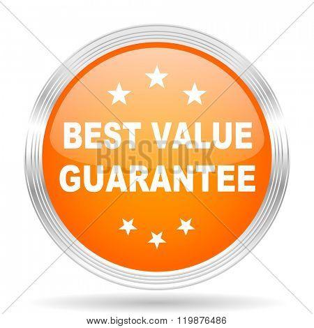 best value guarantee orange silver metallic chrome web circle glossy icon