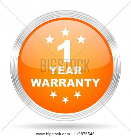 warranty guarantee 1 year orange silver metallic chrome web circle glossy icon