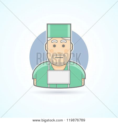 Surgeon, medicine doctor icon. Avatar and person illustration. Flat colored outlined style.