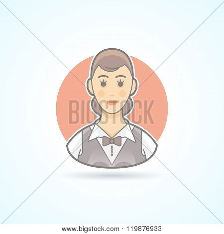 Waitress, nippy, restaurant servicewoman icon. Avatar and person illustration. Flat colored outlined