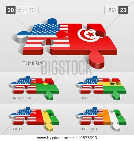 USA Flag. 3d vector puzzle. Set 23.