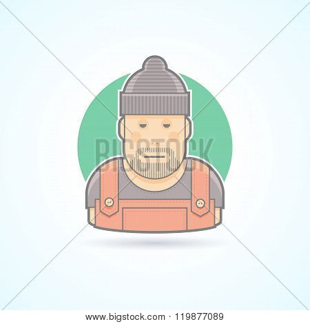 Worker, repairman, master icon. Avatar and person illustration. Flat colored outlined style.