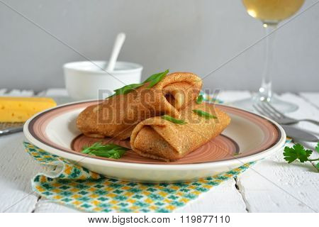 Delicate Pancake Stuffed With Mushrooms And Cheese