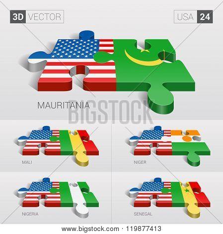 USA Flag. 3d vector puzzle. Set 24.