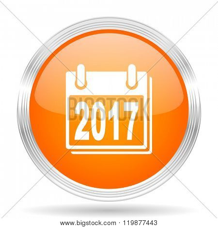 new year 2017 orange silver metallic chrome web circle glossy icon