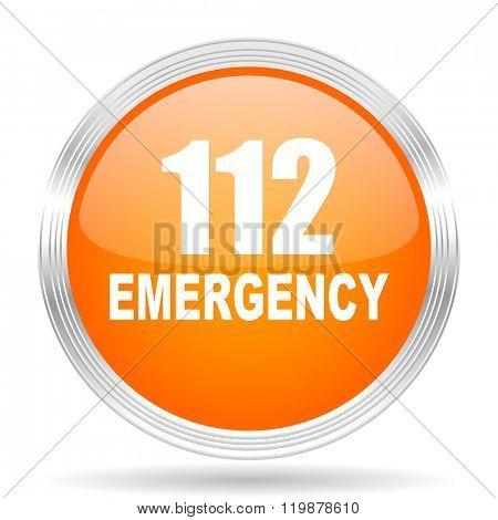 number emergency 112 orange silver metallic chrome web circle glossy icon