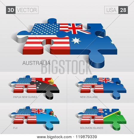 USA Flag. 3d vector puzzle. Set 28.