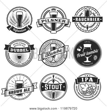 Vector craft beer labels