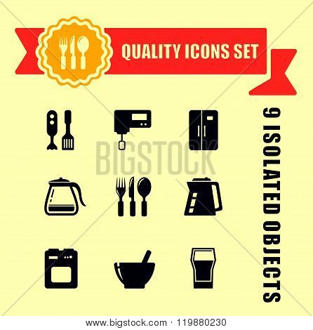 kitchen ware quality icon set