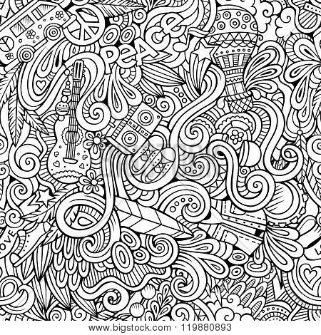 Cartoon hand-drawn Doodles on the subject of Hippie style theme